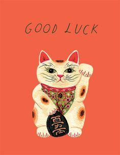 Etsy の lucky cat card by beccastadtlander Maneki Neko, Neko Cat, Good Luck Pictures, Good Luck Cards, Online Greeting Cards, Cat Cards, Crazy Cats, Japanese Art, Cat Lovers