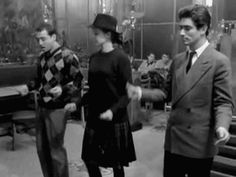 Claude Brasseur, Anna Karina and Sami Frey with a few neat dance moves in the Jean-Luc Godard film, Bande à Part, 1964 Anna Karina, Dance Gif, Lets Dance, Film Dance, Dance Moves, Wes Anderson, Hush Hush, Claude Brasseur, French New Wave
