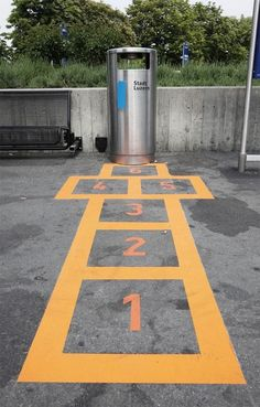 Probably not the most motivating way of getting people to play hopscotch.