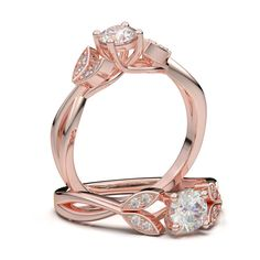 Rose Gold Floral Twist Marquise Design Ring - 9 / 1/2 ct Forever One Moissanite Center
