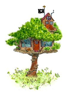 so he built her up a tree house. maybe a house with roots growin out of it and a tree growing on top?