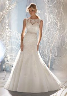 Beaded Lace Appliques on Tulle  PLus Size Wedding Dress