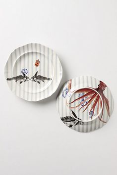 """""""From the Deep"""" Anthropologie. 2 fish salad plate."""