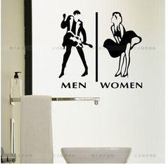 O envio gratuito de arte stickers sex decalque wc escritório sinal de banho restaurante vidro etiqueta adesivos de parede decalques decoração home da parede t5