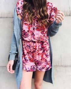 floral romper, feminine style, casual style, cardigan and romper outfit, how to layer summer style