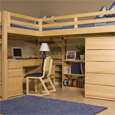 Loft bed with desk. space saver for room sharing