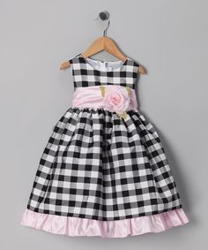 Ella & Dax Black Rose Gingham Dress - Infant, Toddler & Girls
