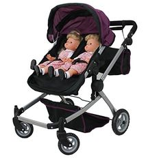 Mommy & Me Babyboo Twin Doll Stroller Foldable Deluxe Double Doll Pram with Swiveling Wheels, Convertible Seat, Basket, and Free Carriage Bag, Purple and Black (Multi Function View All Photos) Baby Doll Strollers, Twin Strollers, Pram Stroller, Double Strollers, Best Lightweight Stroller, Baby Trolley, Vintage Pram, Baby Doll Toys, Dolls Prams