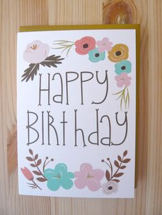 Birthday card - Greeting Card - Note Card - Cards. €3.00, via Etsy.