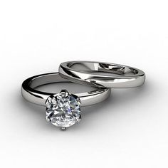 classic tiffany style 1ct round cut solitaire russian lab diamond 14k white gold engagement ring and - Hundedusche Ring