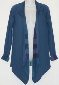 BURBERRY BRIT Blue Nova Check NEW Waterfall Cardigan sz s Modal Jersey #Burberry #Cardigan