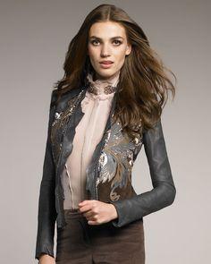 Roberto Cavalli Feather applique Leather Jacket