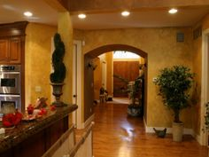 Tuscan style – characterized by a pronounced rustic, simplistic finishes with elegant iron accents, terra-cotta tiles and textured walls with murals, detailed and elegant (trompe l'oeil). Tuscany Homes, Tuscany Italy, Tuscany Decor, Tuscan Colors, World Decor, Tuscan Decorating, Tuscan Style, Interior Exterior, My Living Room