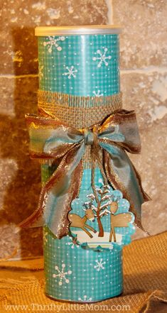 How To Wrap Gifts Like a Pro Without Busting Your Gift Budget Wrapped Pringles can - so adorable! -- How to Wrap Gifts Like a Pro Using Upcycled Cylinder Containers Christmas Gift Wrapping, Christmas Crafts, Christmas Decorations, Upcycled Crafts, Handmade Crafts, Tin Can Crafts, Paper Crafts, Craft Gifts, Diy Gifts