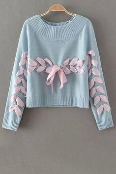 Jersey de punto customizado con lazo. Jewel Neck Long Sleeve Ribbon Sweater