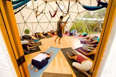 Check out how many people fit into a 24' #Yoga #Dome by Pacific Domes