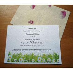 Seeded Paper Invite  Daisy Design  and Petal Envelope