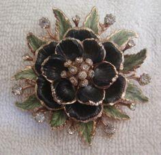 Stunning Vintage Coro Vendome Signed Rhinestone Enameled Flower Brooch Pin | eBay