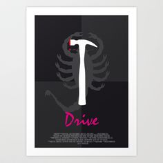 Drive - movie poster - black.  Designed long ago, now available on Society6.com