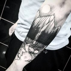 Black Ink Guys Trees And River Landscape Outer Forearm Tattoos