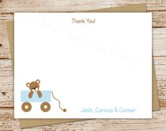 teddy bear wagon . PRINTABLE baby boy thank you cards . FLAT personalized note card . stationery stationary . blue . baby shower