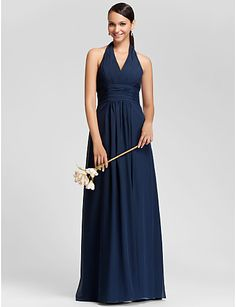 Sheath/Column Halter Floor-length Chiffon Bridesmaid Dress