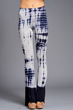 a6b5d441c6573 Navy and GreyTie-Dye Stretch Flare Palazzo Leggings. Workout Pants ...