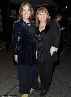 On-screen gal pals: Phyllis Logan and Lesley Nicol happily stopped to take a picture together