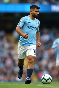 Sergio Aguero of Manchester City runs with the ball during the Premier League match between Manchester City and Burnley FC at Etihad Stadium on October 20, 2018 in Manchester, United Kingdom. Manchester City, Soccer World, Hs Football, England, Sports