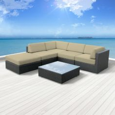 Amazon.com: Luxxella Outdoor Patio Wicker BERUNI Light Beige Sofa Sectional Furniture 6pc All Weather Couch Set: Patio, Lawn & Garden