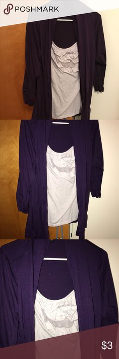 Clearance AB Studio Purple and White Cardigan Lg Cute purple and gray Cardigan  from AB Studio! Great condition and comes all as one piece! 💜🖤💜🖤If you buy three or more clearance items get each for $3 💜🖤💜🖤when you do a bundle! Say what?!?! Must be bought as bundle of 3 for killer discount! AB Studio Sweaters Cardigans