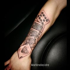 #marlenelecidre #tattoo #tatouage #card #bycicle #poker #realism #realist #armtattoo #realistic #privatestudio #paris11 #paris