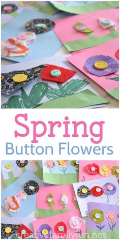 Make these colorful button flowers, a sweet spring craft- great for preschoolers and kindergartners! #springcrafts #flowers