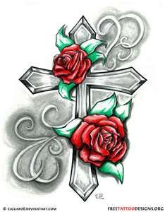 Cross with Roses Tattoo.... but with the roses a different way.
