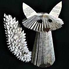 Fox Book Sculpture by Clara Maffei Folded Book Art, Paper Book, Book Folding, Paper Art, Paper Crafts, Cut Paper, Paper Folding, Old Book Crafts, Book Page Crafts