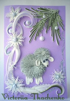 Quilling Greeting card, Christmas quilling card, New Year quilling card with little sheep Neli Quilling, Paper Quilling Designs, Quilling Craft, Quilling Patterns, Valentine's Day Greeting Cards, Christmas Greeting Cards, Christmas Greetings, Quilling Christmas, Christmas Crafts