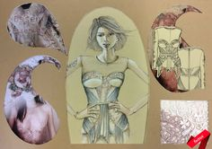 Intricate corset designs, with fabric suggestions, based on upcoming fashion trends. Conceptual Design, Elements Of Design, Fashion Flats, Apparel Design, Corset, Fashion Design, Fashion Trends, Fabric, Art