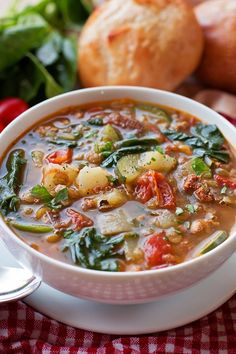 Hearty soup w a selection of breads. This hearty tuscan lentil soup is packed full of veggies and protein! It's a breeze to make and can easily feed a crowd! Lentil Soup Recipes, Vegetarian Recipes, Cooking Recipes, Healthy Recipes, Veggie Soup, Tuscan Lentil Soup Recipe, Spicy Lentil Soup, Slow Cooker Lentil Soup, Lentil Dishes