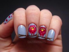 Chalkboard Nails: Valentine's Owl Nail Art Tutorial, a very good website to find new nail designs :) Owl Nail Art, Owl Nails, Owl Art, Minion Nails, Do It Yourself Nails, How To Do Nails, Cute Nails, Pretty Nails, Die O