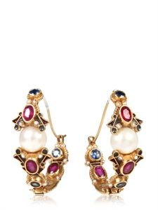 DELFINA DELETTREZ - RED MOUTH AND PEARL EARRINGS - LUISAVIAROMA