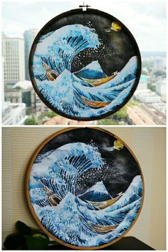 Batik art by Feliciazoe $78 per piece. #japan #fuji #mtfuji #waves #asian #art #batik #waterproof#wax #moon #stars #risingsun #nippon for more info email felicazoe@live.com Batik Art, Fuji, Asian Art, Aurora, Wax, Moon, Japan, Stars, Live