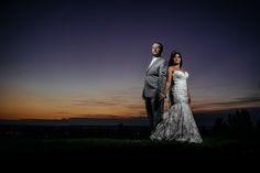 Matt Shumate Photography Beautiful Beacon Hill Wedding: dramatic sunset portrait of bride and groom summer wedding