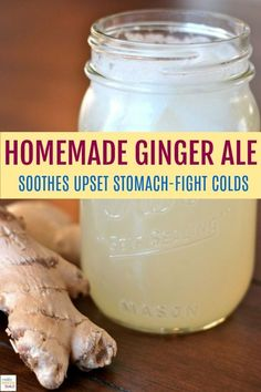 This Homemade Ginger Ale recipe is really delicious and also a fantastic natural remedy. Soothe an upset stomach, flight colds and enjoy the wonderful taste of real ginger. Easy Homemade Ginger Ale Recipe If. Yummy Drinks, Healthy Drinks, Healthy Recipes, Detox Drinks, Nutritious Smoothies, Yummy Food, Healthy Juices, Refreshing Drinks, Smoothie Detox