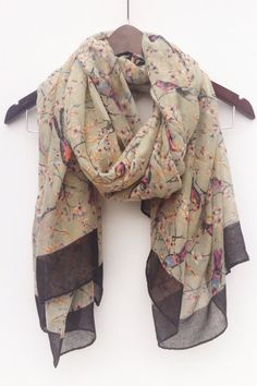 Gray Bird Scarf Branch Scarf Nature Scarf Gray by knotanotherscarf
