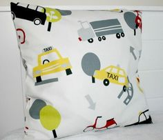 Cushion Cover With Buses Cars Trucks Scooters by LittleCottonShop, €10.00