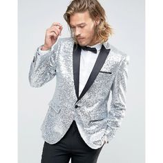 Browse online for the newest ASOS Skinny All Over Sequin Blazer styles. Shop easier with ASOS' multiple payments and return options (Ts&Cs apply). Silver Prom Suits, Silver Outfits, Satin Jackets, Men's Coats And Jackets, Groom And Groomsmen Looks, New Mens Fashion, Men's Fashion, Fashion Online, Glamour Party