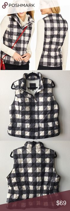"""Talbots Buffalo Plaid Puffer Vest XL Petite New With Tag! Talbots Puffer Vest. Retail $139. Petite XL. A bold black & white buffalo check gives a classic puffer vest a fresh new look. Concealed zipper in front with logo snaps. Two real flap pockets on front. Princess seams in front are figure flattering. Fully lined with polyester. Elasticized waist in back to give you a feminine shape. Shell: 100% Polyester. Fill: 80% Down, 20% Feathers. Machine wash. ▪️Bust: 48"""" ▪️Shoulder-to-Hem: 23""""…"""