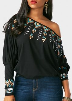 Printed Batwing Sleeve Skew Neck Black Blouse on sale only US$29.58 now, buy cheap Printed Batwing Sleeve Skew Neck Black Blouse at Rosewe.com