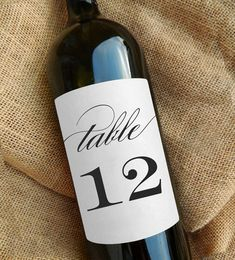 Table Number Wine Labels Kraft or White by paperandlace on Etsy