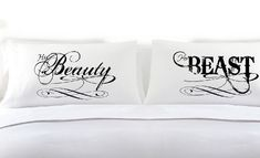 Beauty and the Beast Couples Pillow Cases (White, King Size) Romantic Gifts, Anniversary, Engagement, Wedding, Valentines Day, Christmas Bridal Shower Gifts ** Be sure to check out this awesome product.